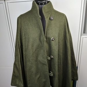 Vintage 70's green wool cape/coat
